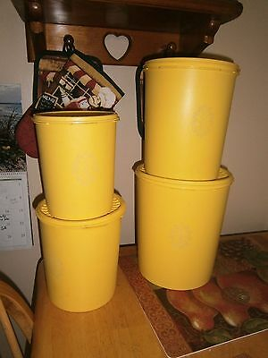Vintage Tupperware Yellow 8 Pc Nesting Canister Servalier