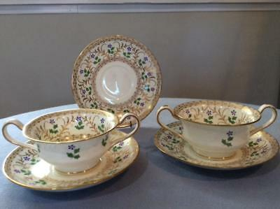 Wedgwood bone china bouillon hand painted FIVE pieces cups and saucers X4728