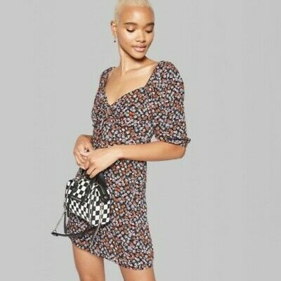 1d015f4425 NEW Wild Fable Women s Tie Front Puff Sleeve Dress - Black - Size 2XL