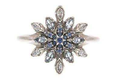 cc73b40d8 Pandora (190969NBLMX) Blue Crystal, Clear CZ, Crystallized Snowflake Ring  NEW