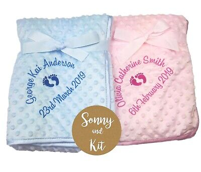 Personalised Baby Birth Details Blanket, Soft Dimple Dot, Embroidered Gift