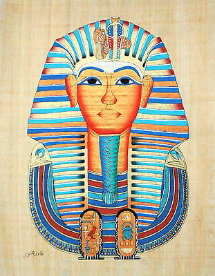 """Egyptian Papyrus  - Hand Made - 12"""" x 16"""" Ancient Art - King Tut's Mask"""