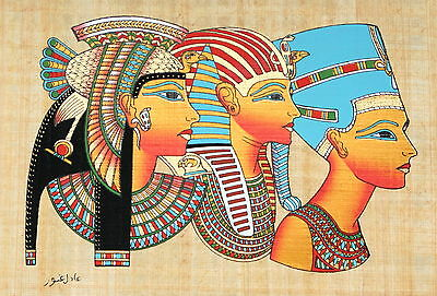 "Egyptian Papyrus - Hand Made - 9"" x 13"" Ancient Art Cleopatra, Tut & Nefertiti"