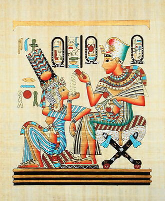 "Egyptian Papyrus - Hand Made 12"" x 16"" - Ancient Art -King Tut With His Wife"