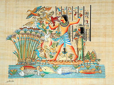 "Egyptian Papyrus - Hand Made 12"" x 16"" - Ancient Art - Lord Menna Hunting Birds"