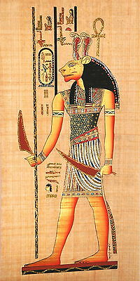 "Egyptian Papyrus  - Hand Made- 12"" x 25"" - Ancient Art -Fierce Goddess Sekhmet"