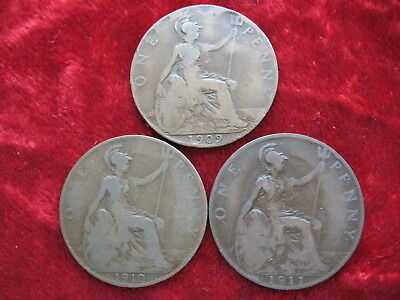 Lot of (3) English Pennys 1909, 1910 & 1911! Tough Date's! Large 3CM Coins!