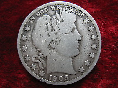 1905-S Barber Silver Half Dollar, VERY GOOD CONDITION! NICE COIN!