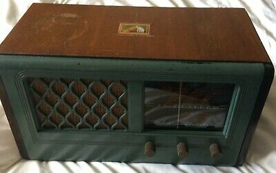 HMV Vintage Valve Radio Model 1115 collectible ww2 his masters voice used