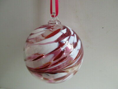 Glass Mouth Blown Spirit of Friendship Ball  Shades of Rose/White8cm Boxed Gift