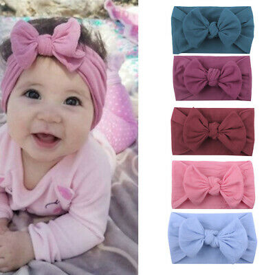 5PCS Girls Kid Baby Cotton Bow Hairband Headband Stretch Turban Knot Head Wrap K