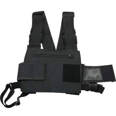Pouch Chest Harness Bag Radio Black Universal Pocket Adjustable Strap Outdoor