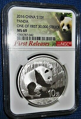 """NGC Certified """"FIRST RELEASES"""" 2016 CHINA PANDA 30 Grams PURE SILVER 10 YUAN 42"""