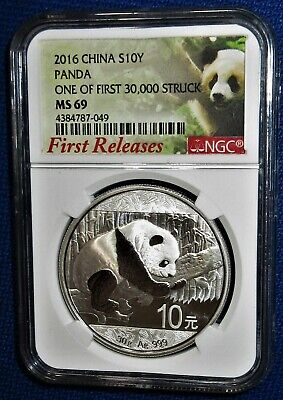 """NGC Certified """"FIRST RELEASES"""" 2016 CHINA PANDA 30 Grams PURE SILVER 10 YUAN 49"""
