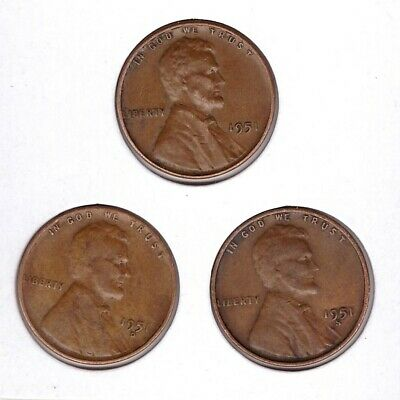1951 P D S Lincoln Cent Wheat Back Penny 3 coins