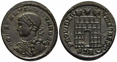 FORVM Choice aEF Constantine II AE19 Treveri Bust Left / Campgate