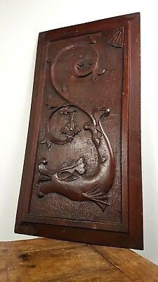 ARTS & CRAFTS DRAGON WOOD 1890's ART & CRAFTS HAND CARVED PANEL SCOTTISH MADE