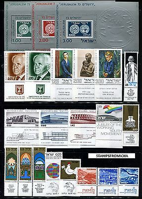 Israel 1974 Complete Year Set of Mint Never Hinged Stamps Full Tabs