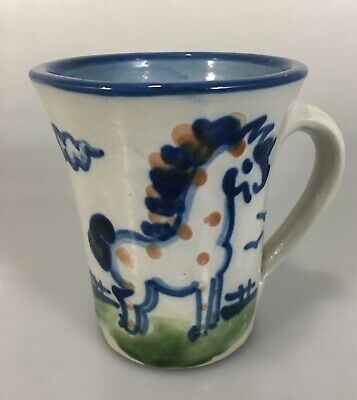 MA Hadley Blue Gray Standing Horse Stoneware Pottery Mug The End