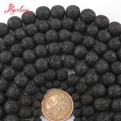 "6,8,10,12,14mm Natural Round Black Lava Rock Volcanic Stone Loose Beads 15""DIY"