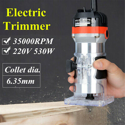 "35000RPM 6.3mm 1/4"" Electric Hand Trimmer Wood Laminator Router Joiner Tool  ❤"