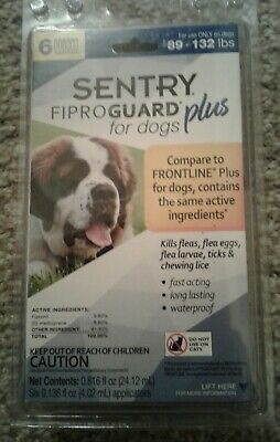 Sentry FIPROGUARD PLUS for Extra Large Dogs 89-132 lbs. 6 Doses Flea & Tick 1680