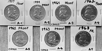 Franklin Half Dollars - 7 Coins -1957-1963 - PROOF (90% Silver) - Philadelphia-A
