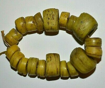 Ancient Yellow Wound Glass Hebron Kano Beads From West Bank Israel African Trade