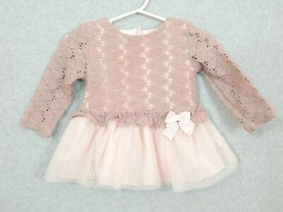 1edc5f96f8a5 CATHERINE MALANDRINO Infant GIRLS Lined PINK Fancy Party WINTER DRESS 3-6 mo