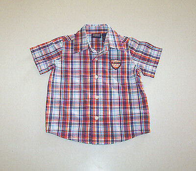 Infant Boy's Wrangler Orange, Blue and White Plaid Short Sleeve Shirt 18 Months