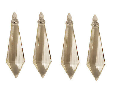 "4 Crystal Clear Faceted Large 4"" Teardrop Diamond Drop Icicle Chandelier Beads"