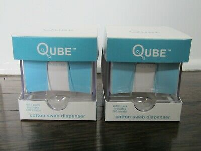 Lot of 2 QUBE Cotton Swab Dispenser includes Refill Pack with 200 Swabs