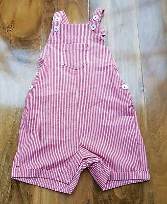 MINI Boden BABY BOYS/GIRLS in Red Stripes DUNGAREES BRAND NEW Size 3-6 months.