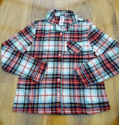 MINI BODEN Girls Checked Pyjamas Top COSY WOVEN BRUSHED COTTON SIZE 9-10 YEARS