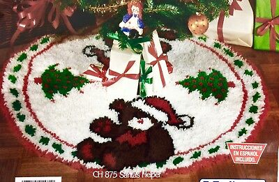 "Vtg National Yarn Latch Hook Rug Kit Santas Helper 33"" Tree Skirt Xmas CH875 NIB"
