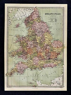 1876 Bartholomew Map - England & Wales - London Liverpool Bristol Cornwall Dover