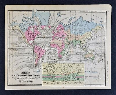 1882 McNally World Map - Meteorology Climate Rain Ocean Currents Co-Tidal Lines