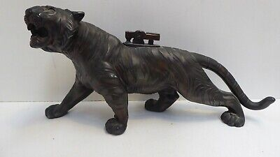 Vintage Chinese Bronze Spelter Tiger Statue Table Lighter Antique Asian Decor