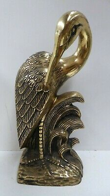 Vintage Chinese Brass Stork Crane Ibis Statue Bookend  Antique Asian Decor
