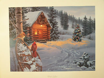 WINTER/'S CANOPY by Darrell Bush 17x25 FRAMED PRINT Rabbit Bunny Tree Snow