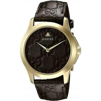 f04c2b055b8 Gucci Men s G-Timeless 38mm Brown Leather Band Quartz Analog Watch YA1264035