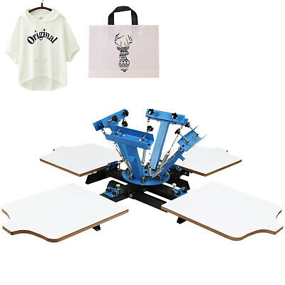 4 Color 4 Station Silk Screen Printing Machine Wood Pressing Cutting T-shirt