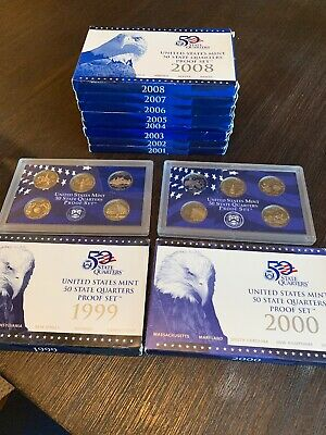 1999-2008 US MINT 50 STATE QUARTERS PROOF COIN COLLECTION SET with Box/COA