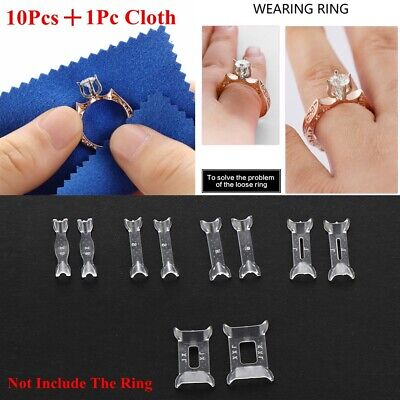 10 Pack Ring Size Adjuster Invisible Resizer Reducer Set Jewelry Perfect Fit Set