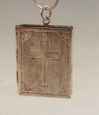 Chinese Tibetan Silver Hand Carving Christian Cross Box Pendant Gift Collection