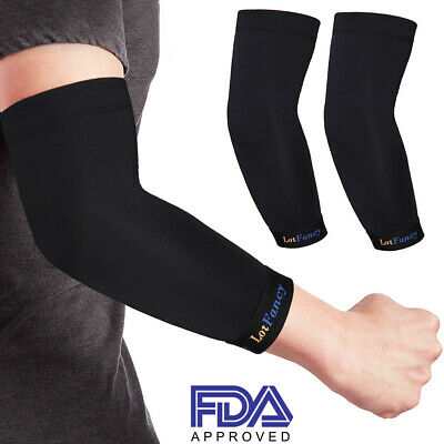 7da586a4d8 2x Copper Elbow Sleeve Brace Compression Support Arthritis Tendonitis Joint  Pain