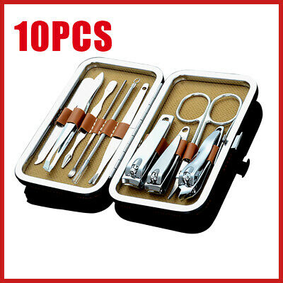 10Pcs Knife Manicure Cuticle Pedicure Nail Clippers Kit Stainless Set Grooming