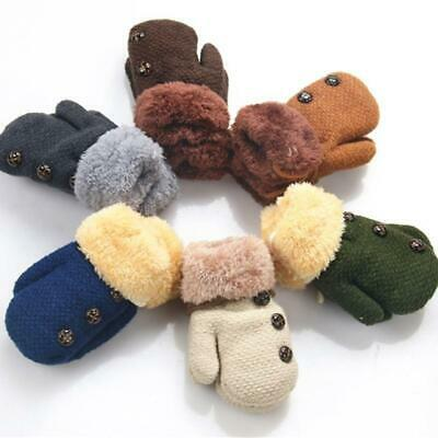 Infant Baby Winter Thicken Warm Full Finger Mittens Knitted Buttons Gloves CZ