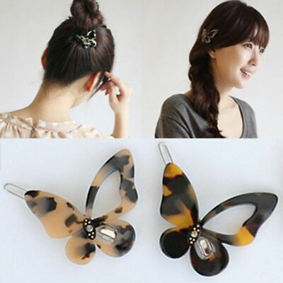 Butterfly Shaped Bobby Pins Ladie Women Leopard Amber Hollow la pince à cheveux