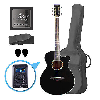 Artist LSPSCEQ Black Small Body Beginner Acoustic Electric Guitar - New